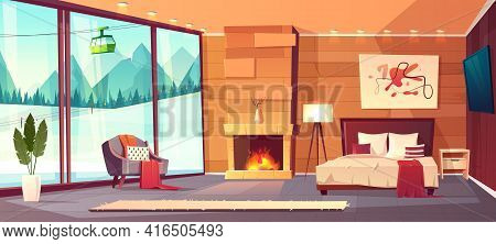 Vector Cartoon Interior Of Luxury Hotel Bedroom With Furniture - Double Bed, Carpet And Fireplace. L