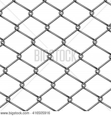 Chain-link, Rabitz Fence Fragment Or Pattern 3d Realistic Vector Isolated On White Background. Moder