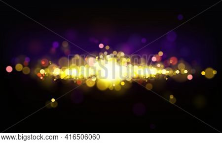 Vector Abstract Background With Shining Elements, Bright Lights, Bokeh Effect. Cluster Of Golden Sta