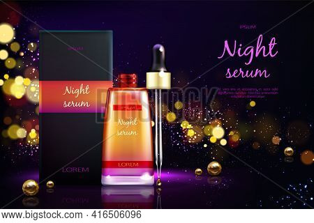 Womens Cosmetics Product 3d Realistic Vector Ad Banner. Skin Moisturizing, Facial Night Serum Packag