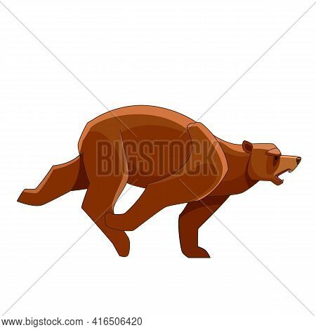 Big Bear Running. Flat Vector Style Bear On White Background. Wild Forest Creature With Brown Fur. C