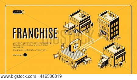Business Franchise Isometric Vector Web Banner, Landing Page. Small Enterprise, Company, Shop Or Ser