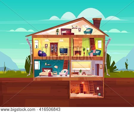 Two-storey Cottage House Cross Section Interior Cartoon Vector With Spacious Hall, Fireplace In Comf