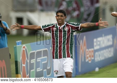Rio, Brazil - April 11, 2021: John Kennedy Player Celebrate In Match Between Flamengo V Nova Iguacu