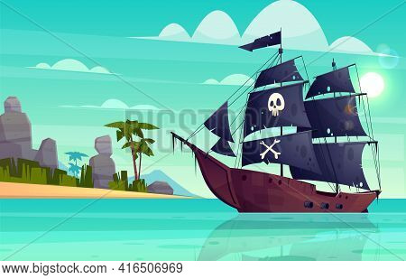 Vector Cartoon Pirate Ship On Water, Sand Beach Of The Bay. Wooden Boat With Black Sails, Cannons Go