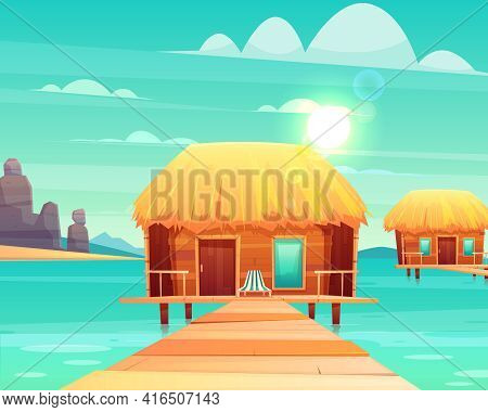 Comfortable Wooden Bungalows With Thatched Roof On Pier At Sunny Tropical Seacoast Cartoon Vector Il