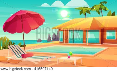 Luxury Tropical Resort Hotel Cartoon Vector With Cocktail On Table, Lounge Chair Under Umbrella And