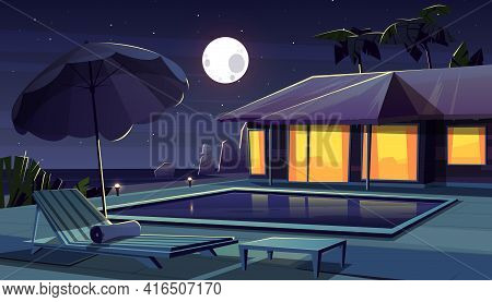 Vector Cartoon Background With Hotel At Night. Living Apartment Of Tropical Resort Water Pool, Full