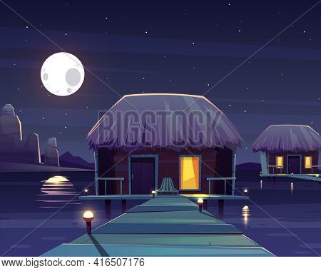 Vector Cartoon Background With Rich Hotel On Piles At Night. Living Apartment On Pillars, Tropical R