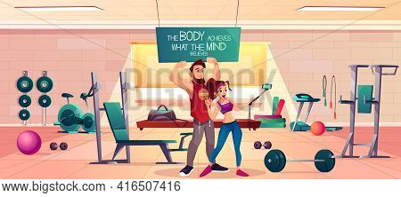 Fitness Club Clients Cartoon Vector Concept. Young Man And Woman In Sportswear, Showing Biceps Muscl