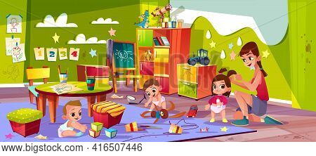 Children In Nursery School Cartoon Vector. Baby Boys Playing Toys, Female Teacher Making Pigtails To