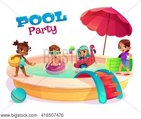 Children Pool Party Cartoon Vector Concept With Multinational Boys And Girls In Swimsuits, Playing I