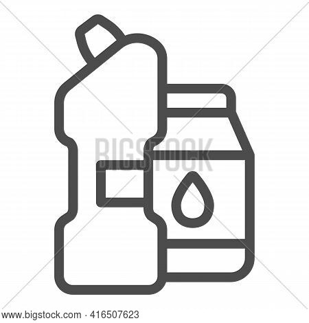 Bleach And Powder Line Icon, Car Washing Concept, Clean Products Sign On White Background, Detergent