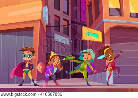 Superheros Children On City Street Cartoon Vector Concept With Happy Smiling, Multiethnic Boys And G