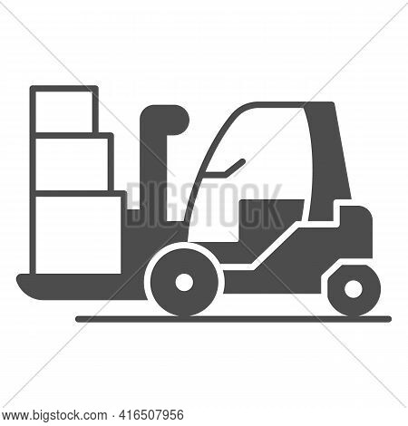 Forklift Solid Icon, Airlines Concept, Forklift Truck Control Vector Sign On White Background, Lugga