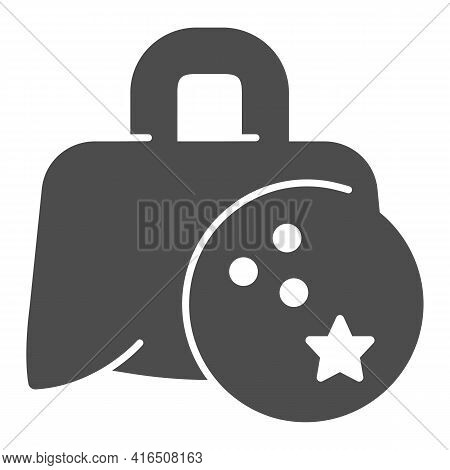 Bag With Bowling Ball Solid Icon, Bowling Concept, Sport Equipment Sign On White Background, Bowling