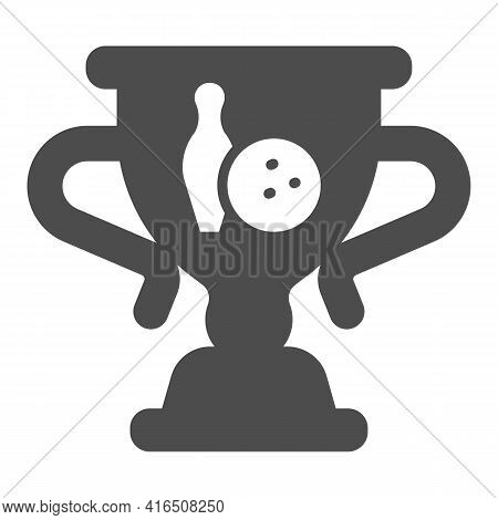 Cup Of Winner In Bowling Solid Icon, Bowling Concept, Trophy Cup Sign On White Background, Winner Bo