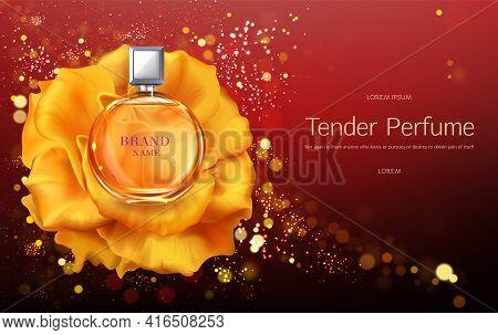 Tender Womens Perfume 3d Realistic Vector Advertising Banner Or Poster Template. Elegant, Glass Perf