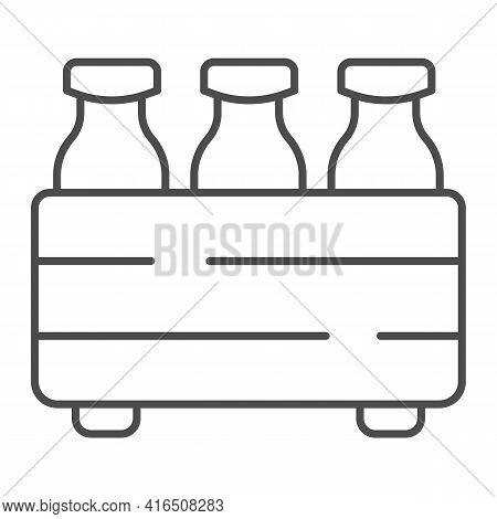 Box With Milk Bottles Thin Line Icon, Dairy Products Concept, Packaging For Milk Sign On White Backg