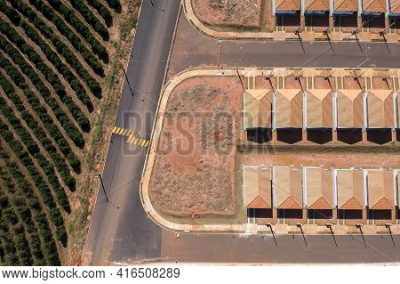 Aerial View Of Construction Site Of Standardized Houses Of The My House My Life Program Surrounded B