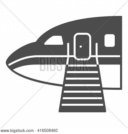 Plane Ladder Solid Icon, Airlines Concept, Plane Ladder Vector Sign On White Background, Passengers