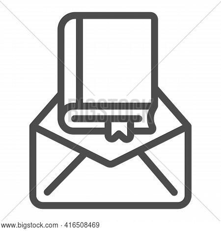 Parcel Letter With Book Line Icon, Children Book Day Concept, Envelope Vector Sign On White Backgrou