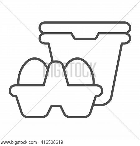Sour Cream And Packing Eggs Thin Line Icon, Dairy Products Concept, Milk Products Sign On White Back