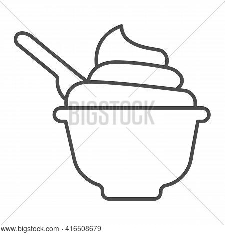 Plate Of Sour Cream With Spoon Thin Line Icon, Dairy Products Concept, Plate With Cream Sign On Whit
