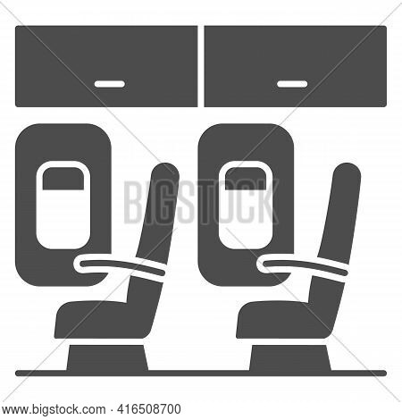 Seats In Plane Solid Icon, Airlines Concept, Seats Vector Sign On White Background, Passengers Seats