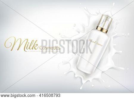 Vector Cosmetic Banner With Realistic Bottle For Skin Care Cream Or Body Lotion. Beauty Product, Nat