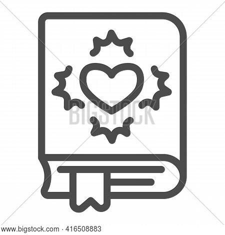 Book With Heart, Novel Line Icon, Children Book Day Concept, Novel Vector Sign On White Background,