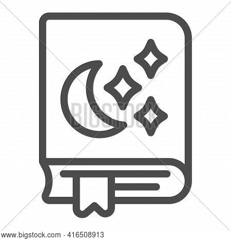 Bedtime Story Moon, Star Line Icon, Children Book Day Concept, Book With Moon, Star Vector Sign On W
