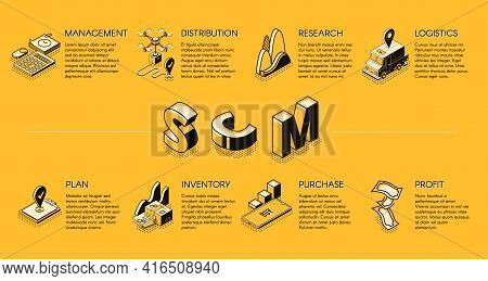 Supply-chain Management Isometric Vector Banner Or Poster, Commercial Processes Organization Present