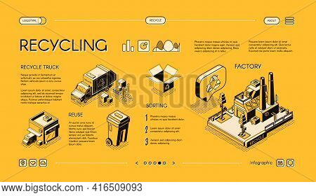 Waste Recycling Isometric Vector Web Banner, Presentation Infographics Slide. Garbage Sorting, Waste