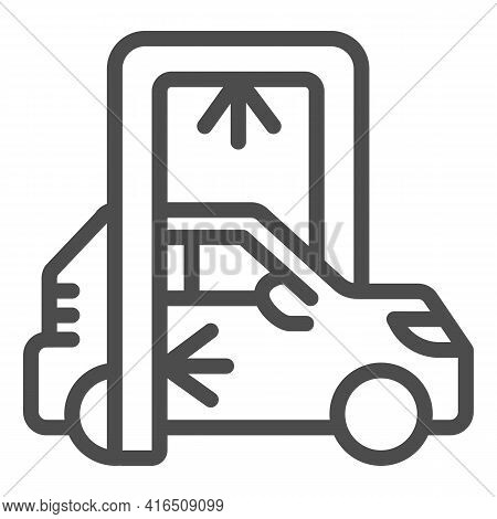 Process Of Washing Car In Conveyor Car Wash Line Icon, Car Washing Concept, Automatic Vehicle Steam