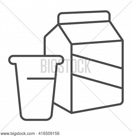 Bag And Glass Of Milk Thin Line Icon, Dairy Products Concept, Paper Bag With Milk Sign On White Back