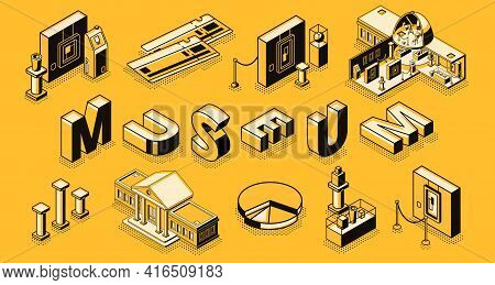 Museum Or Art Gallery Isometric Vector Concept With Museum Cross Section Building, Paintings And Scu