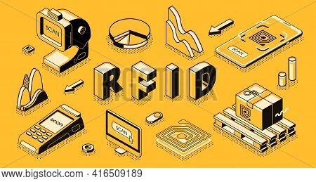 Radio Frequency Identification Technology Isometric Vector Concept With Rfid Reader Or Scanner, Elec