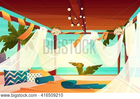 Chill Out Area On Luxury, Tropical Resort Cartoon Vector. Comfortable Terrace, Decorated Flowers, Co