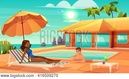 Leisure On Tropical Resort Cartoon Vector. Caucasian Man Swimming In Pool, Flirting With African-ame