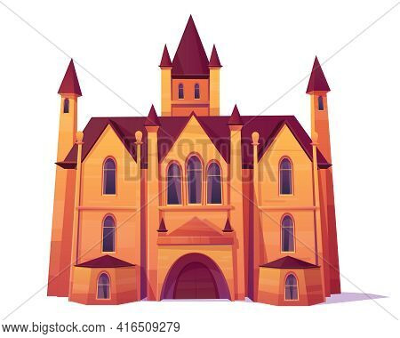 Medieval Castle, Luxury Villa, Mansion In Victorian Architecture Style Cartoon Vector. Ancient House
