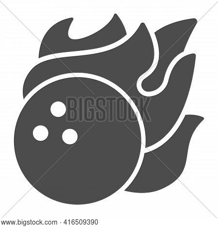 Bowling Ball In Fire Flame Solid Icon, Bowling Concept, Sport Comet Sign On White Background, Bowlin