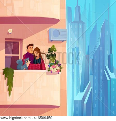 Comfortable Living In Modern Multi-storey House Cartoon Vector With Young Couple With Cat, Covering