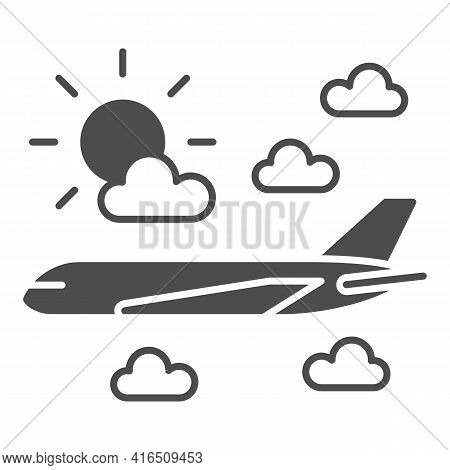 Plane Flies In The Clouds Solid Icon, Airlines Concept, Plane In Clouds Vector Sign On White Backgro