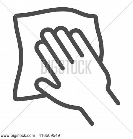 Napkin And Hand Line Icon, Car Washing Concept, Car Cleaning Cloth Sign On White Background, Cleanin