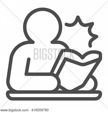 Person Reading Book Line Icon, Children Book Day Concept, Man Reading Vector Sign On White Backgroun