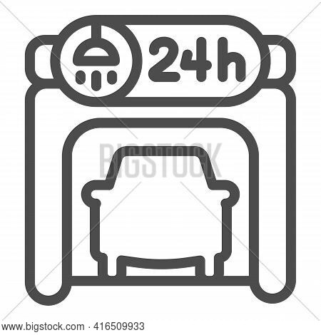 Garage With Car Wash Sign And Vehicle Inside Line Icon, Car Washing Concept, Garage Sign On White Ba