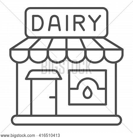 Dairy Store Thin Line Icon, Dairy Products Concept, Milk Shop Building Sign On White Background, Mil