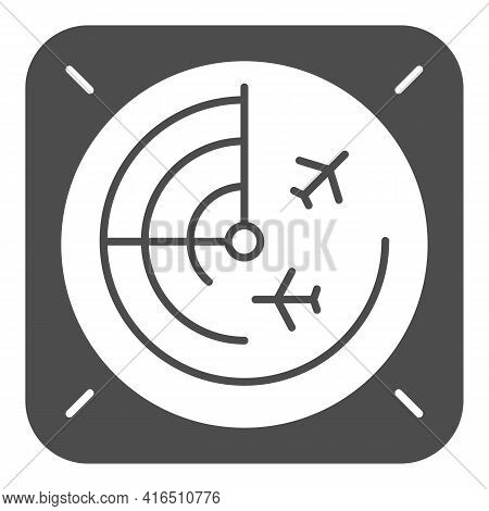 Airplane Radar Solid Icon, Airlines Concept, Radar Monitor Vector Sign On White Background, Radar Gl