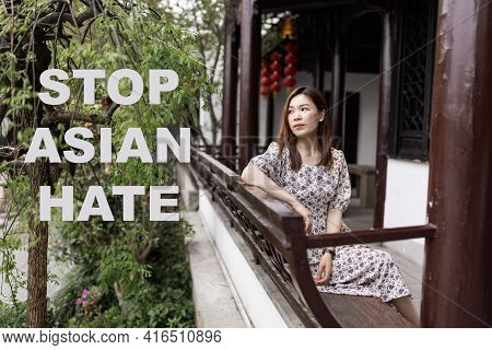 Stop Asian Hate Concept, Support Asian Americans Communities, Stop Hate Crimes Campaign. Beautiful A